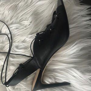 Michael Kors black wrap tie shoe